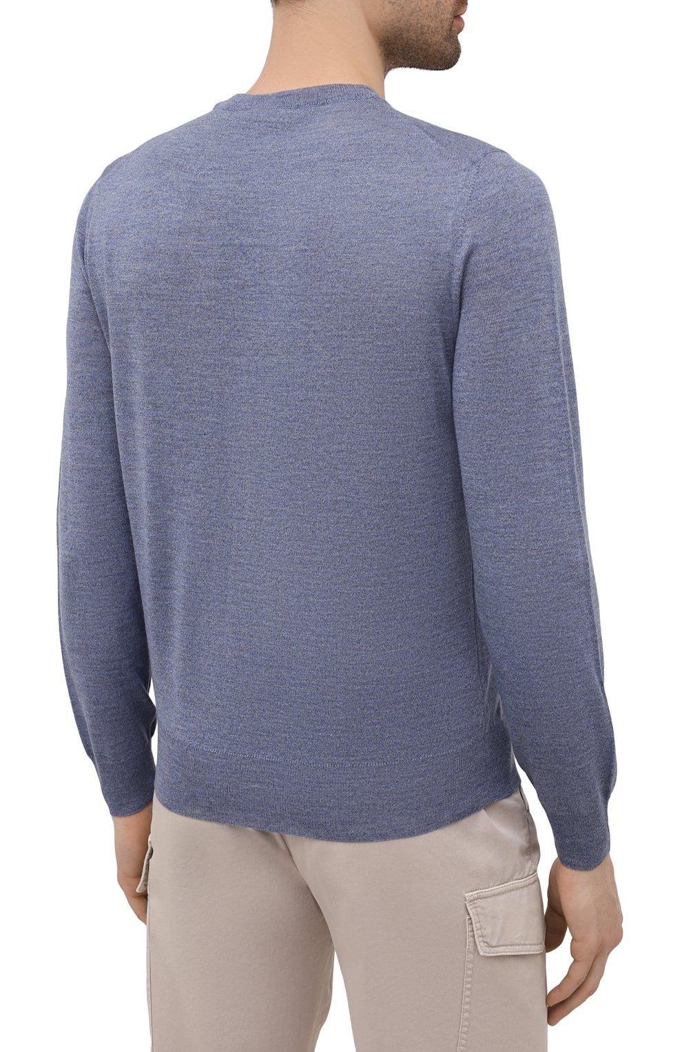 Мужской шерстяной джемпер CANALI голубого цвета, арт. C0012/MK00077   Фото 4