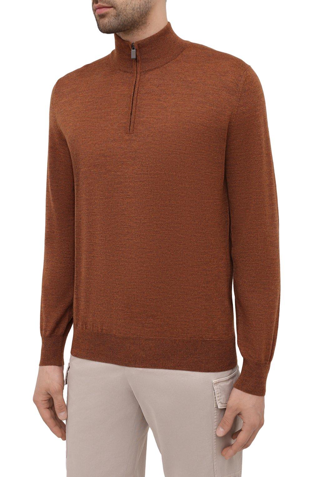 Мужской шерстяной джемпер CANALI коричневого цвета, арт. C0015/MK00077 | Фото 3