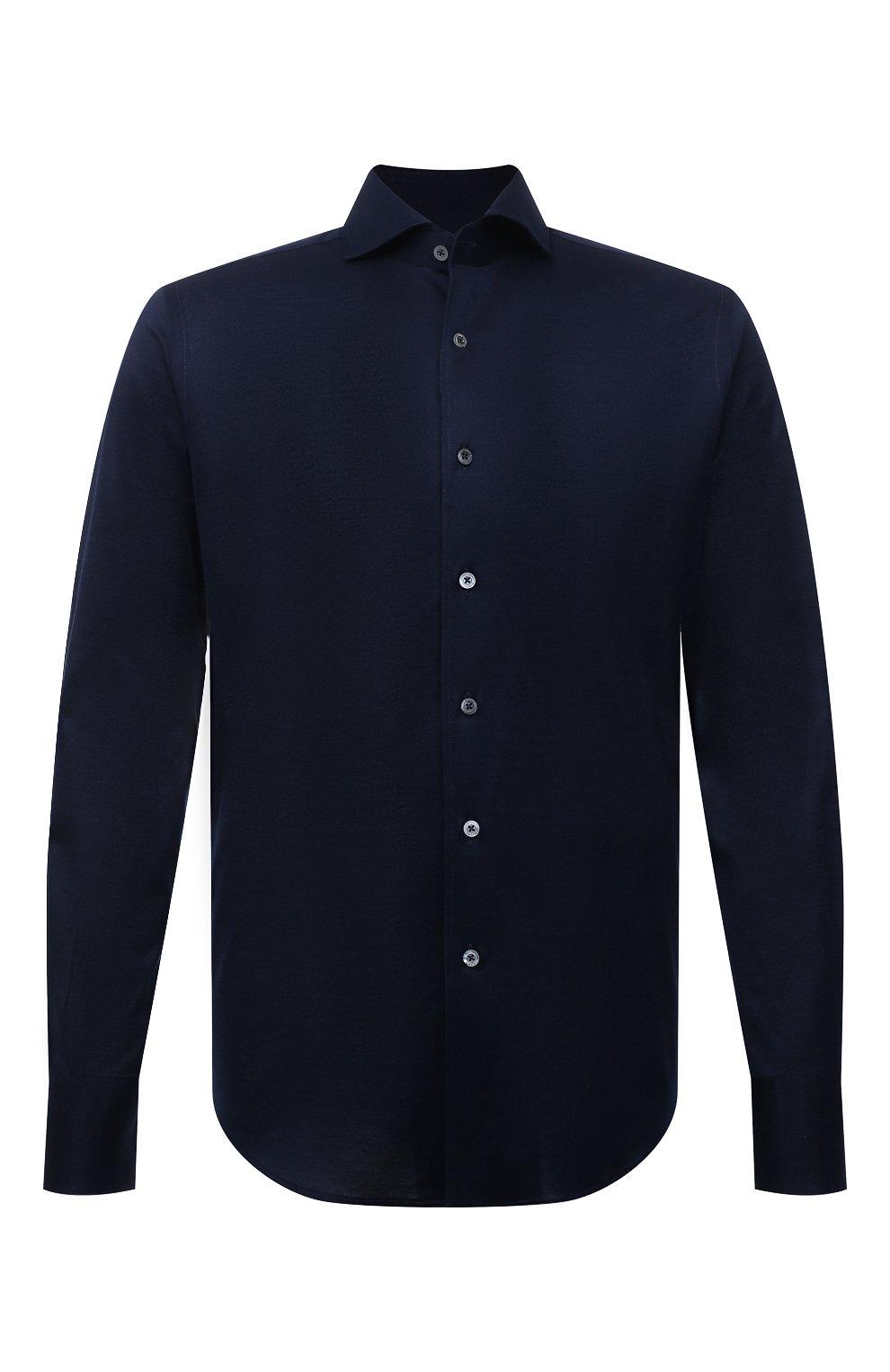 Мужская хлопковая рубашка CANALI темно-синего цвета, арт. L756/GN02310 | Фото 1