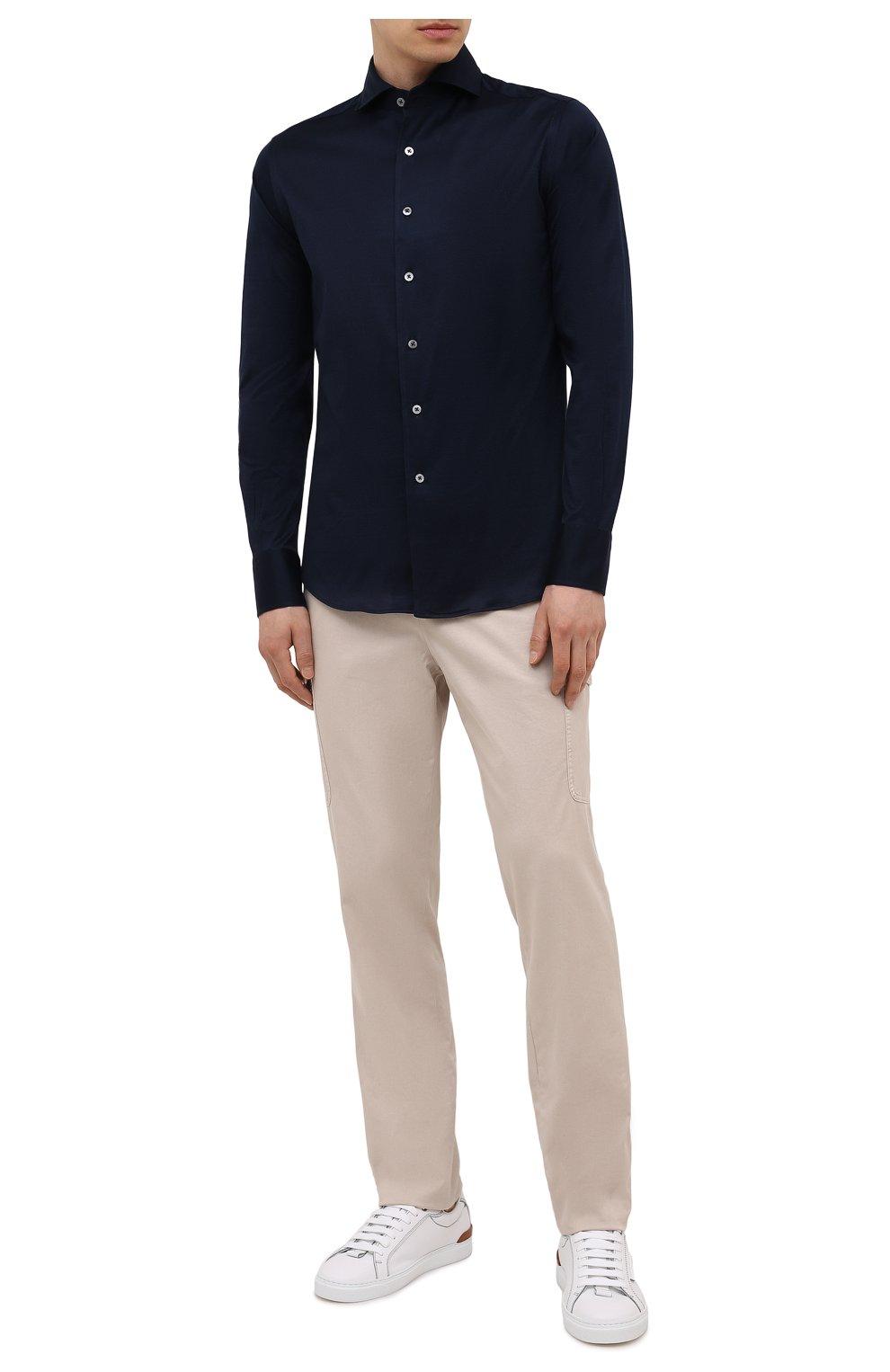 Мужская хлопковая рубашка CANALI темно-синего цвета, арт. L756/GN02310 | Фото 2