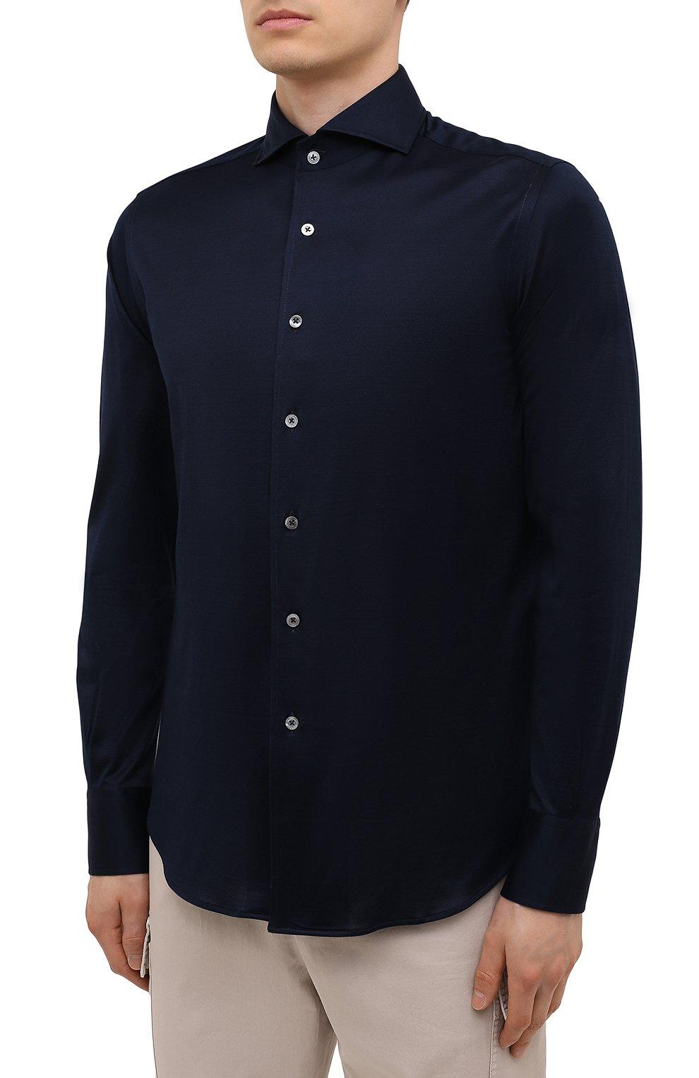Мужская хлопковая рубашка CANALI темно-синего цвета, арт. L756/GN02310 | Фото 3