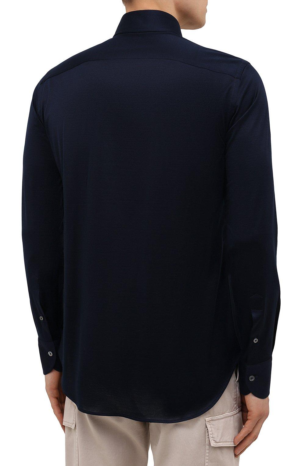 Мужская хлопковая рубашка CANALI темно-синего цвета, арт. L756/GN02310 | Фото 4