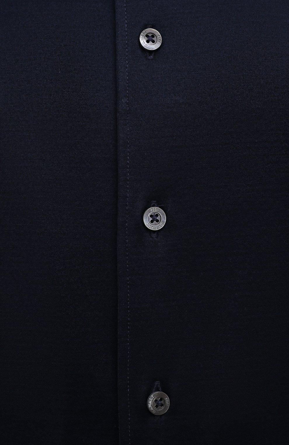Мужская хлопковая рубашка CANALI темно-синего цвета, арт. L756/GN02310 | Фото 5