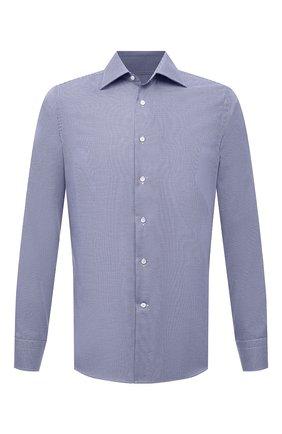 Мужская хлопковая сорочка CANALI темно-синего цвета, арт. NX05/GR02329 | Фото 1 (Длина (для топов): Стандартные; Материал внешний: Хлопок; Случай: Формальный; Рубашки М: Slim Fit; Рукава: Длинные; Принт: Клетка; Манжеты: На пуговицах; Воротник: Акула)