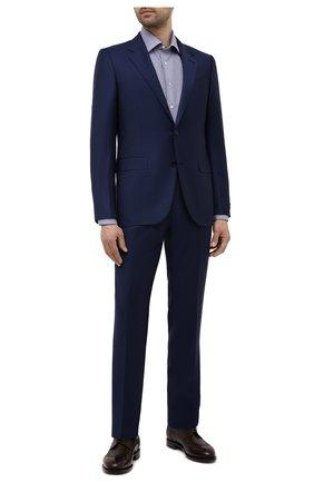 Мужская хлопковая сорочка CANALI темно-синего цвета, арт. NX05/GR02329 | Фото 2 (Длина (для топов): Стандартные; Материал внешний: Хлопок; Случай: Формальный; Рубашки М: Slim Fit; Рукава: Длинные; Принт: Клетка; Манжеты: На пуговицах; Воротник: Акула)