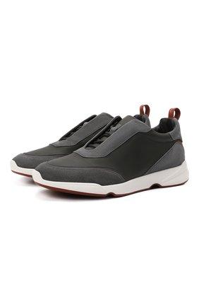 Мужские кожаные кроссовки modular walk LORO PIANA темно-серого цвета, арт. FAL7951   Фото 1