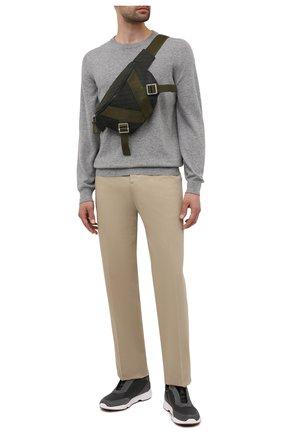 Мужские кожаные кроссовки modular walk LORO PIANA темно-серого цвета, арт. FAL7951   Фото 2