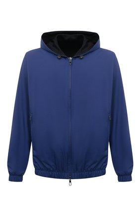 Мужской двусторонний бомбер LORO PIANA синего цвета, арт. FAL4469 | Фото 1 (Материал внешний: Синтетический материал; Материал утеплителя: Шерсть; Стили: Кэжуэл; Принт: Без принта; Кросс-КТ: Куртка; Длина (верхняя одежда): Короткие; Рукава: Длинные)