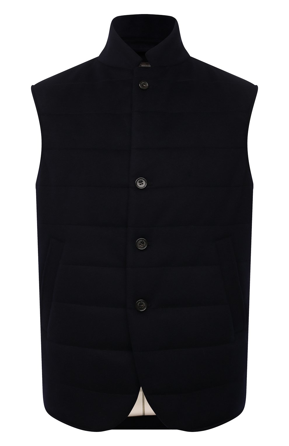 Мужской кашемировый жилет LORO PIANA темно-синего цвета, арт. FAL8947   Фото 1 (Кросс-КТ: Куртка; Материал внешний: Шерсть, Кашемир; Материал утеплителя: Шерсть; Длина (верхняя одежда): Короткие)