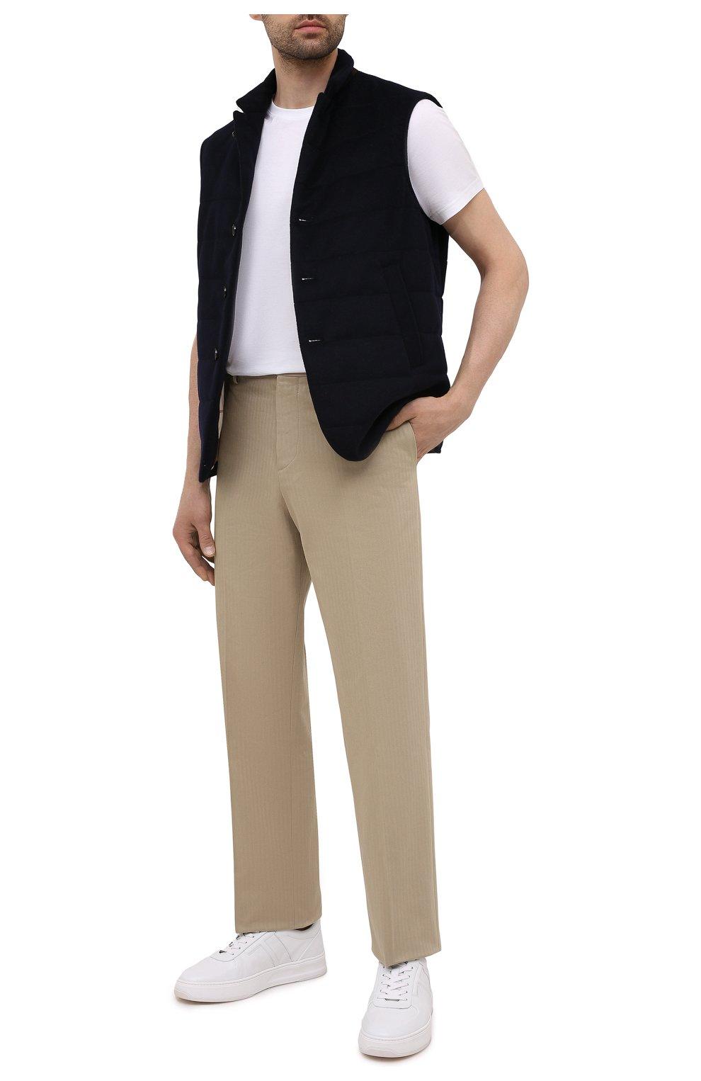 Мужской кашемировый жилет LORO PIANA темно-синего цвета, арт. FAL8947   Фото 2 (Кросс-КТ: Куртка; Материал внешний: Шерсть, Кашемир; Материал утеплителя: Шерсть; Длина (верхняя одежда): Короткие)