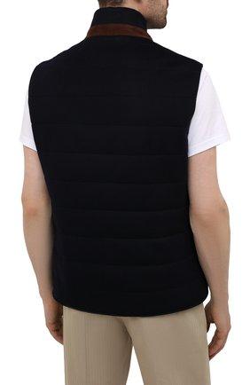 Мужской кашемировый жилет LORO PIANA темно-синего цвета, арт. FAL8947   Фото 4 (Кросс-КТ: Куртка; Материал внешний: Шерсть, Кашемир; Материал утеплителя: Шерсть; Длина (верхняя одежда): Короткие)