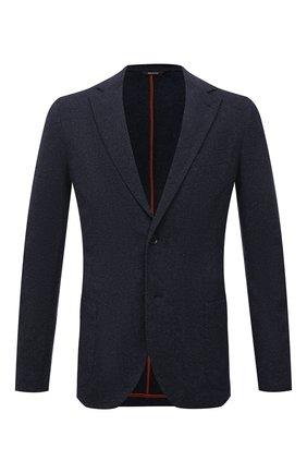 Мужской пиджак из шерсти и кашемира LORO PIANA синего цвета, арт. FAL8138 | Фото 1 (Рукава: Длинные; Материал внешний: Шерсть; Длина (для топов): Стандартные; Случай: Повседневный; Стили: Кэжуэл; 1-2-бортные: Однобортные; Пиджаки М: Приталенный)