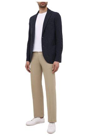 Мужской пиджак из шерсти и кашемира LORO PIANA синего цвета, арт. FAL8138 | Фото 2 (Рукава: Длинные; Материал внешний: Шерсть; Длина (для топов): Стандартные; Случай: Повседневный; Стили: Кэжуэл; 1-2-бортные: Однобортные; Пиджаки М: Приталенный)