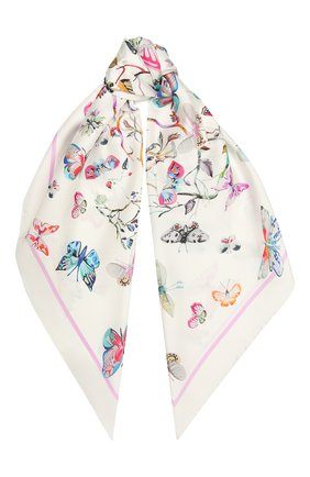 Женский шелковый платок butterfly RADICAL CHIC белого цвета, арт. 280025.21.02   Фото 1