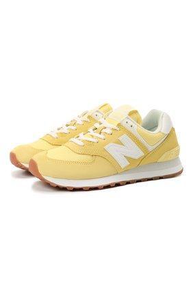 Женские комбинированные кроссовки 574 classic NEW BALANCE желтого цвета, арт. WL574PK2/B   Фото 1