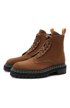 Женские замшевые ботинки PROENZA SCHOULER коричневого цвета, арт. PS35113A/14022 | Фото 1