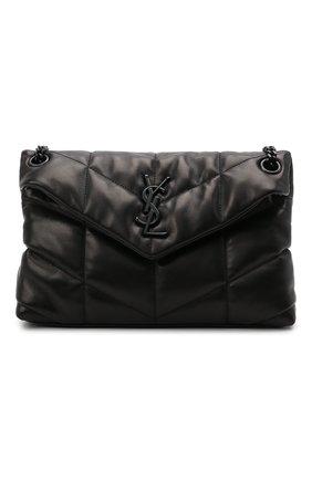 Женская сумка puffer loulou small SAINT LAURENT черного цвета, арт. 577476/1EL08 | Фото 1 (Материал: Натуральная кожа; Сумки-технические: Сумки через плечо; Ремень/цепочка: На ремешке; Размер: small)