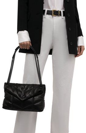 Женская сумка puffer loulou small SAINT LAURENT черного цвета, арт. 577476/1EL08 | Фото 2 (Материал: Натуральная кожа; Сумки-технические: Сумки через плечо; Ремень/цепочка: На ремешке; Размер: small)