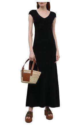 Женские текстильные сабо woody CHLOÉ коричневого цвета, арт. CHC21U44908 | Фото 2
