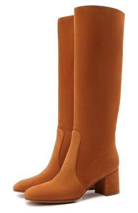 Женские замшевые сапоги glen 60 GIANVITO ROSSI оранжевого цвета, арт. G80401.60RIC.C45SINN | Фото 1 (Каблук высота: Средний; Высота голенища: Средние; Подошва: Плоская; Материал внутренний: Натуральная кожа; Каблук тип: Устойчивый; Материал внешний: Замша)