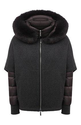 Женская комплект из шерстяной накидки и пуховой куртки MOORER темно-серого цвета, арт. PEGAS0-CZI/M0DGI300009-TEPA386 | Фото 1