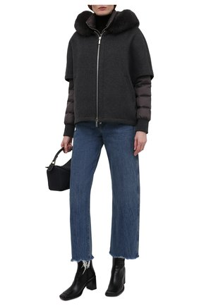 Женская комплект из шерстяной накидки и пуховой куртки MOORER темно-серого цвета, арт. PEGAS0-CZI/M0DGI300009-TEPA386 | Фото 2