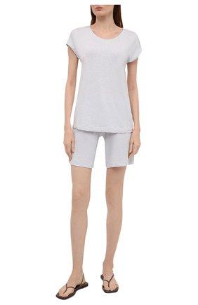 Женская футболка из вискозы HANRO светло-голубого цвета, арт. 076237 | Фото 2