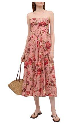 Женское льняное платье ZIMMERMANN розового цвета, арт. 1982DCAS   Фото 2