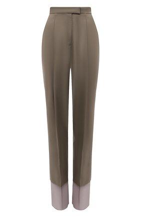 Женские шерстяные брюки LOW CLASSIC хаки цвета, арт. L0W21SS_TR040L   Фото 1 (Длина (брюки, джинсы): Удлиненные; Материал внешний: Шерсть; Стили: Кэжуэл; Женское Кросс-КТ: Брюки-одежда; Силуэт Ж (брюки и джинсы): Прямые)