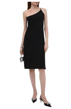 Женские текстильные туфли rosie AMINA MUADDI черного цвета, арт. R0SIE SLING 60/SATIN/BLACK   Фото 2
