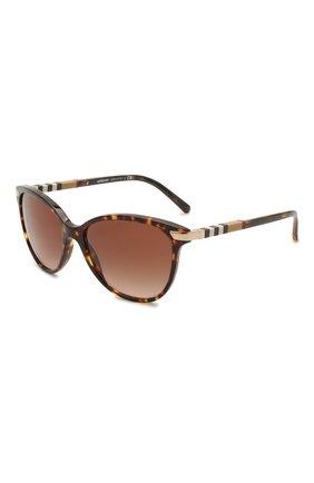 Женские солнцезащитные очки BURBERRY коричневого цвета, арт. 4216-300213   Фото 1