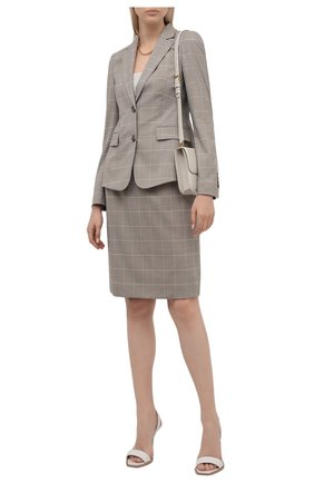 Женский жакет из шерсти и шелка BOSS серого цвета, арт. 50454101 | Фото 2