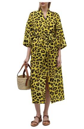 Женская туника из хлопка и шелка NATAYAKIM желтого цвета, арт. NY-035BW | Фото 2