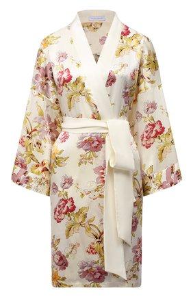Женский шелковый халат OLIVIA VON HALLE кремвого цвета, арт. SS2151 | Фото 1