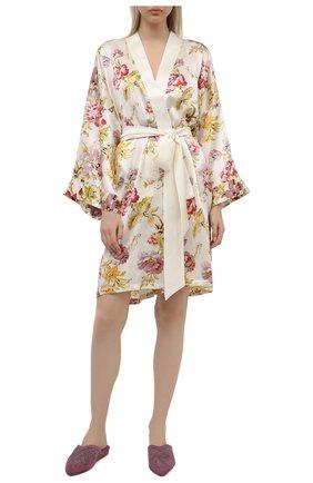 Женский шелковый халат OLIVIA VON HALLE кремвого цвета, арт. SS2151 | Фото 2