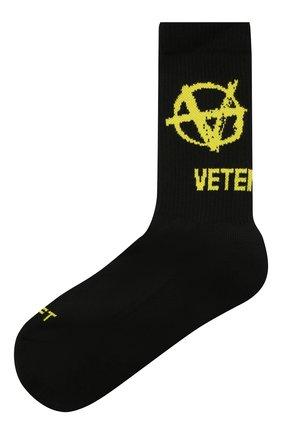 Мужские хлопковые носки VETEMENTS черного цвета, арт. UA52S0300X 2906/M | Фото 1 (Материал внешний: Хлопок; Кросс-КТ: бельё)