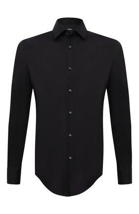 Мужская хлопковая сорочка BOSS черного цвета, арт. 50445840 | Фото 1 (Материал внешний: Хлопок; Случай: Формальный; Воротник: Кент; Длина (для топов): Стандартные; Рукава: Длинные; Рубашки М: Regular Fit; Принт: Однотонные; Манжеты: На пуговицах)