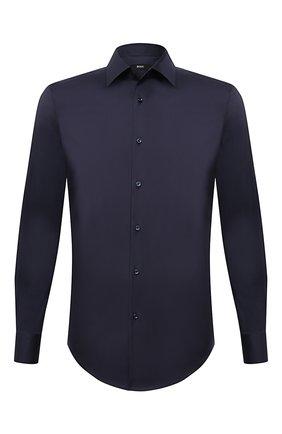 Мужская хлопковая сорочка BOSS темно-синего цвета, арт. 50445840 | Фото 1