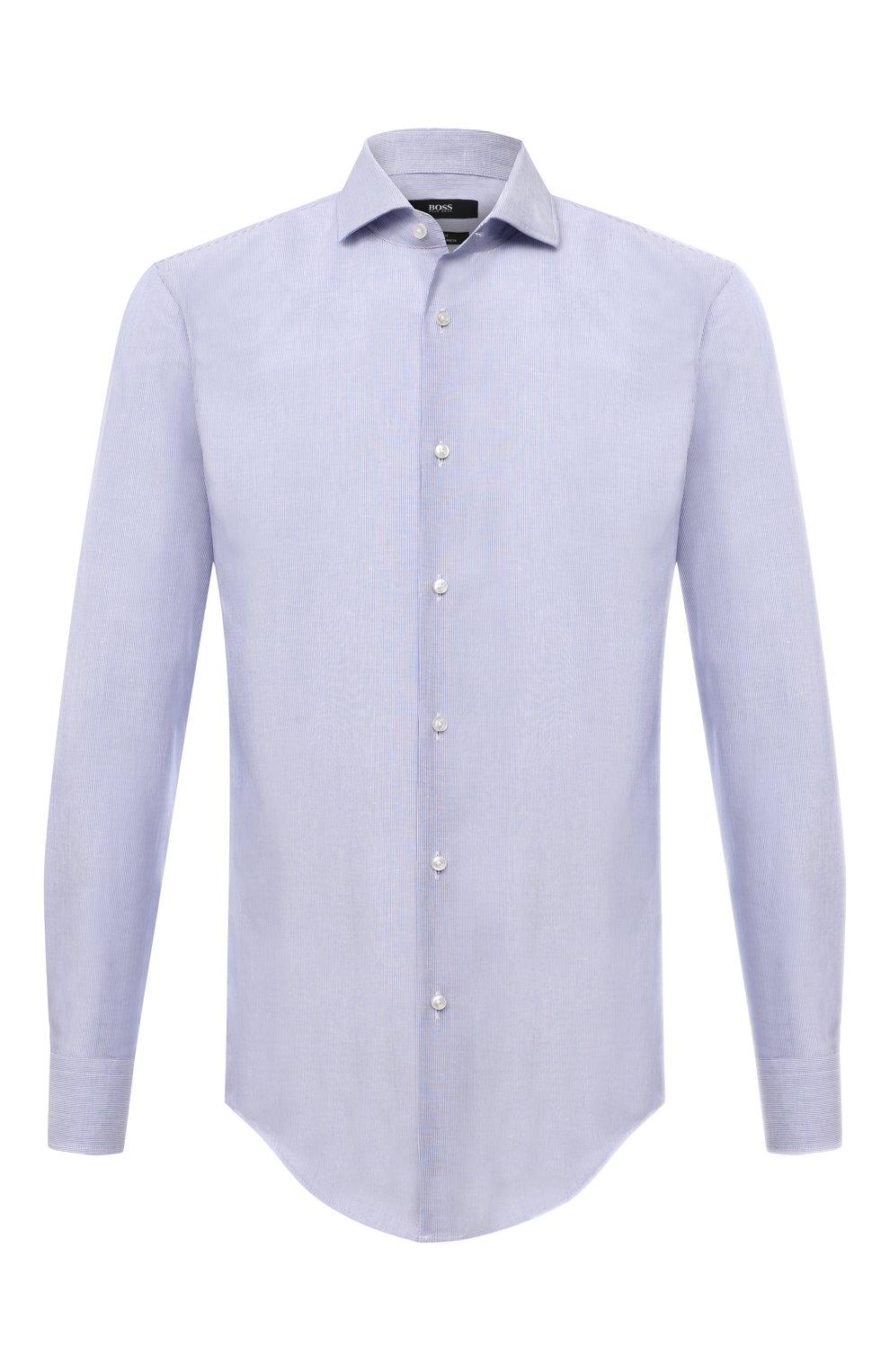 Мужская рубашка из хлопка и льна BOSS синего цвета, арт. 50454057 | Фото 1