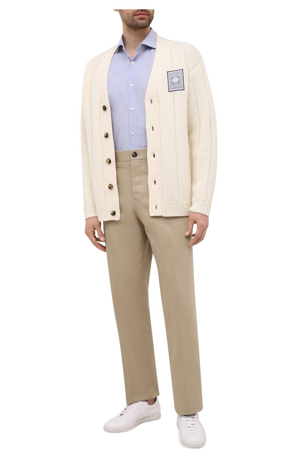 Мужская рубашка из хлопка и льна BOSS синего цвета, арт. 50454057 | Фото 2