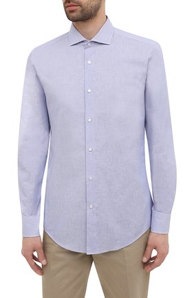 Мужская рубашка из хлопка и льна BOSS синего цвета, арт. 50454057 | Фото 3