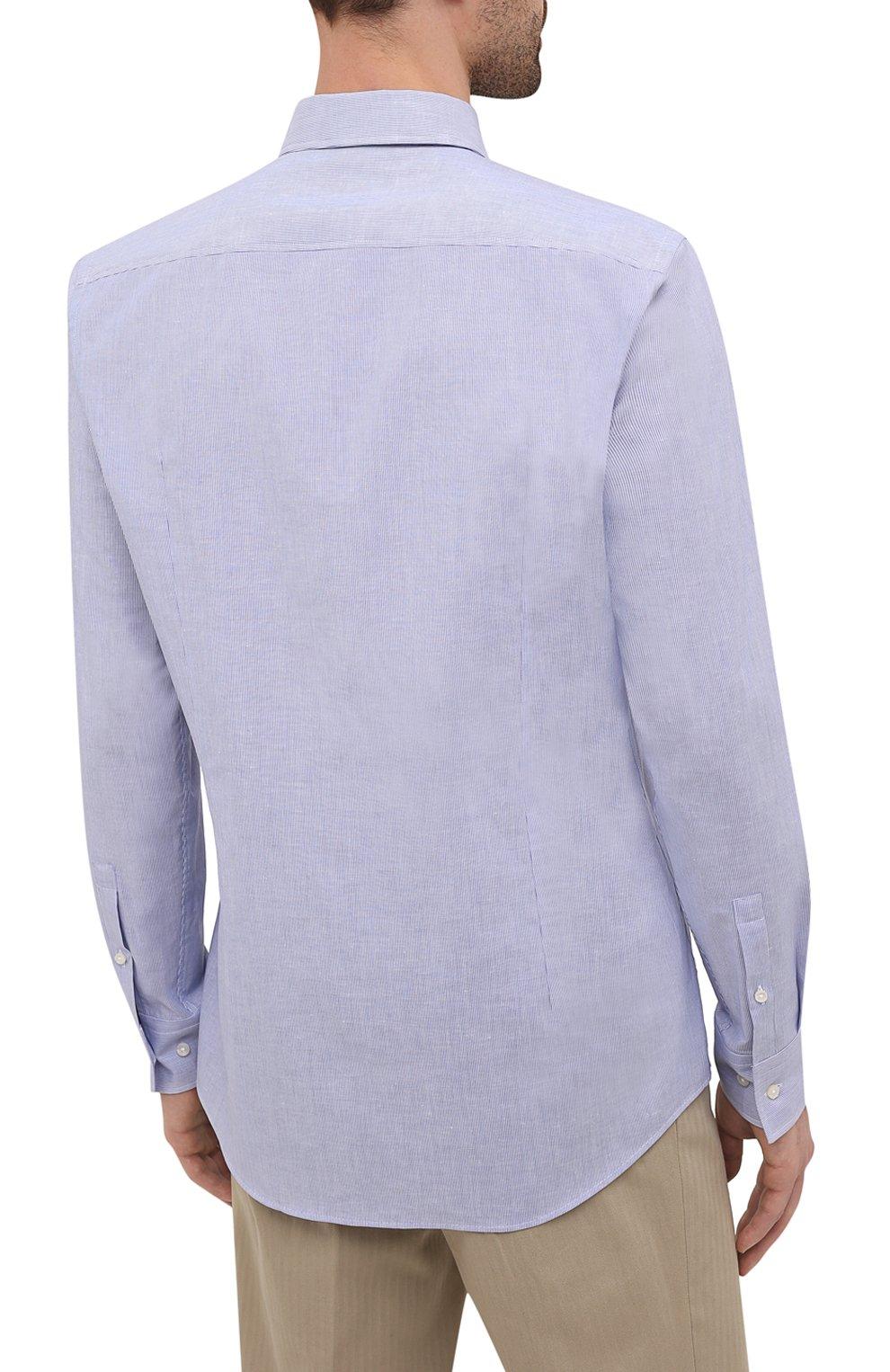 Мужская рубашка из хлопка и льна BOSS синего цвета, арт. 50454057 | Фото 4