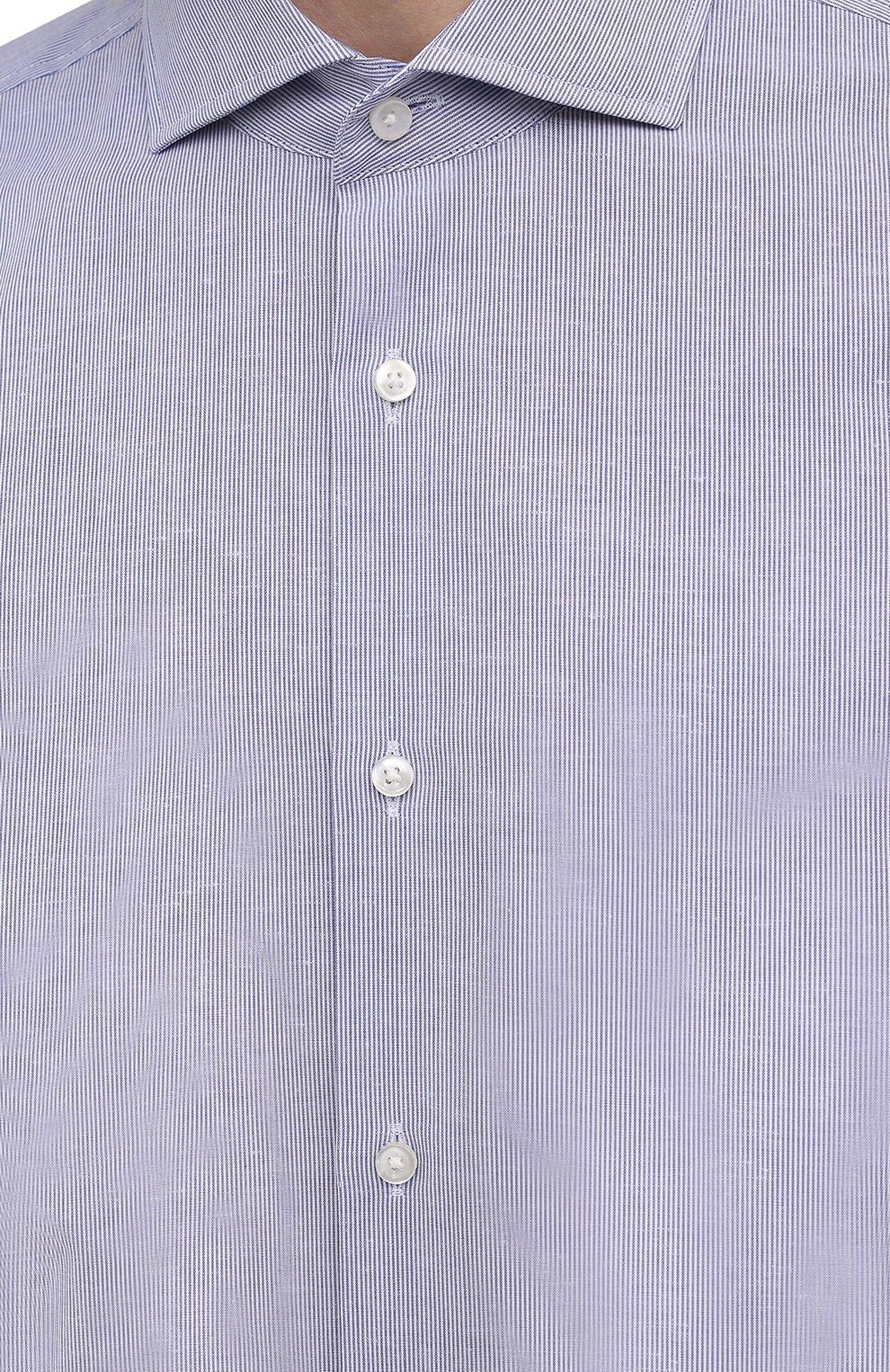 Мужская рубашка из хлопка и льна BOSS синего цвета, арт. 50454057 | Фото 5