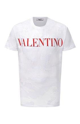 Мужская хлопковая футболка VALENTINO белого цвета, арт. WV3MG10V7NM | Фото 1 (Рукава: Короткие; Длина (для топов): Стандартные; Принт: С принтом; Стили: Милитари, Кэжуэл; Материал внешний: Хлопок)