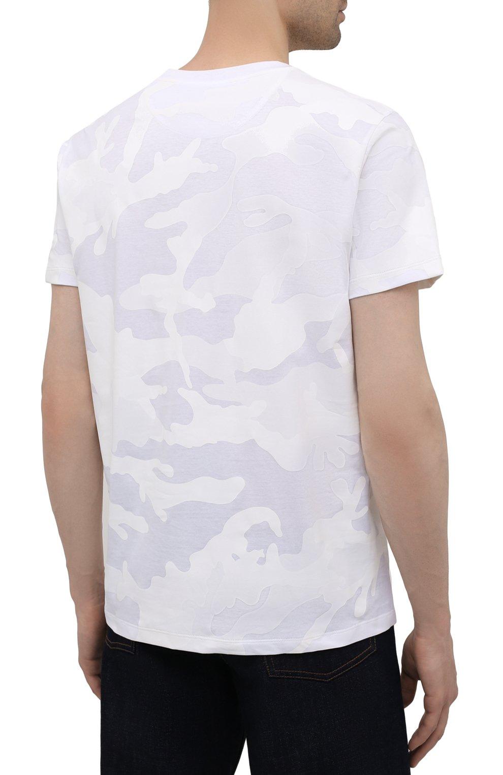 Мужская хлопковая футболка VALENTINO белого цвета, арт. WV3MG10V7NM | Фото 4 (Рукава: Короткие; Длина (для топов): Стандартные; Принт: С принтом; Стили: Милитари, Кэжуэл; Материал внешний: Хлопок)