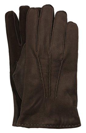 Мужские кожаные перчатки MOORER темно-коричневого цвета, арт. GUANT0-VEN-DER/M0UGU100005-TEPA379 | Фото 1