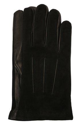 Мужские комбинированные перчатки MOORER черного цвета, арт. GUANT0-NERV-NCM/M0UGU100004-TEPA378 | Фото 1