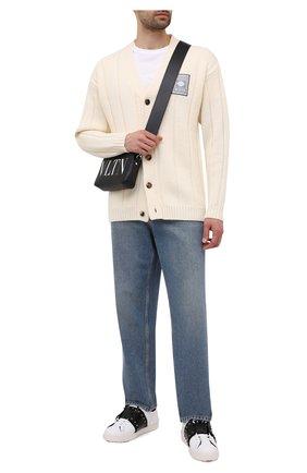 Мужские кожаные кеды open VALENTINO черно-белого цвета, арт. WY2S0931/FAN | Фото 2