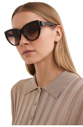 Женские солнцезащитные очки GUCCI коричневого цвета, арт. GG0877S 002   Фото 2
