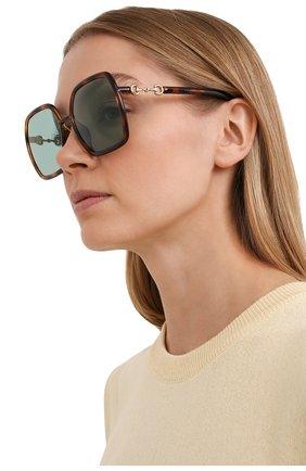 Женские солнцезащитные очки GUCCI коричневого цвета, арт. GG0890SA 003   Фото 2